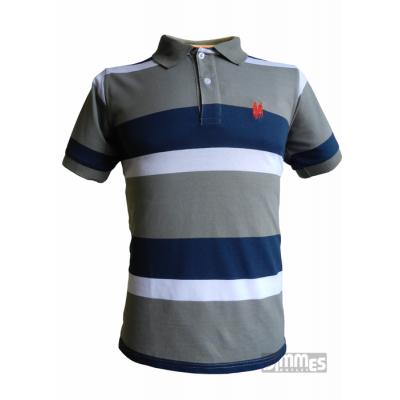 Camisa Polowear Top Quality  Azul/Cinza/Branco